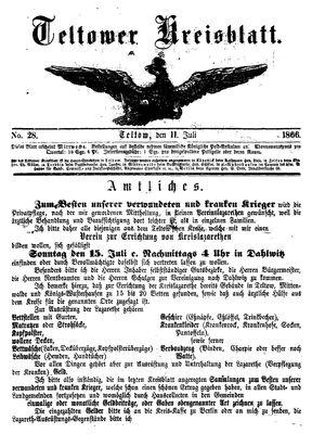Teltower Kreisblatt vom 11.07.1866