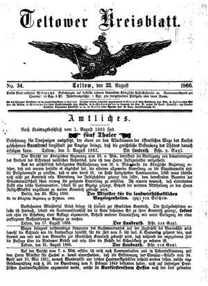 Teltower Kreisblatt vom 22.08.1866
