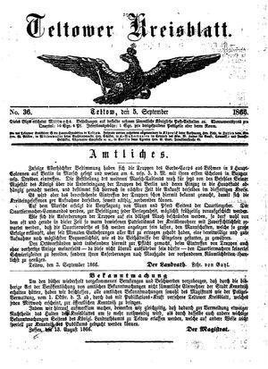 Teltower Kreisblatt on Sep 5, 1866