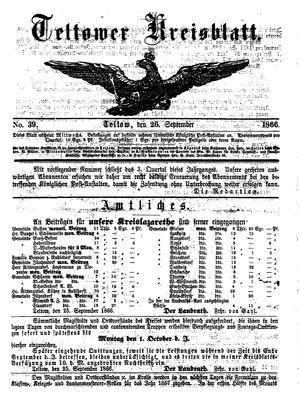 Teltower Kreisblatt vom 26.09.1866