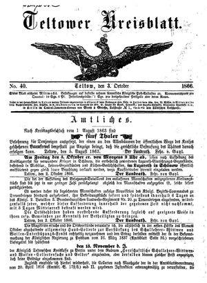 Teltower Kreisblatt vom 03.10.1866