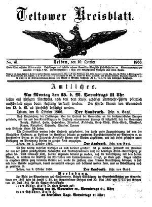 Teltower Kreisblatt vom 10.10.1866