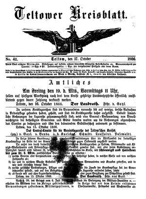 Teltower Kreisblatt vom 17.10.1866
