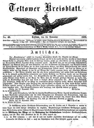 Teltower Kreisblatt vom 14.11.1866