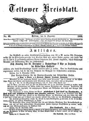 Teltower Kreisblatt on Dec 5, 1866