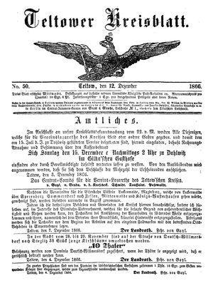 Teltower Kreisblatt vom 12.12.1866