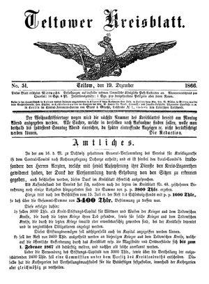 Teltower Kreisblatt vom 19.12.1866