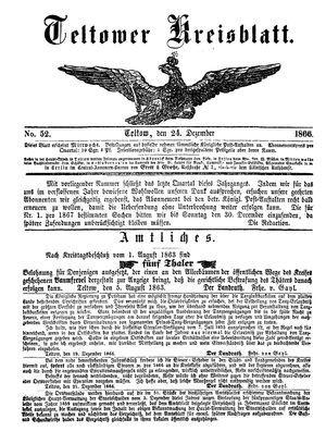 Teltower Kreisblatt vom 24.12.1866