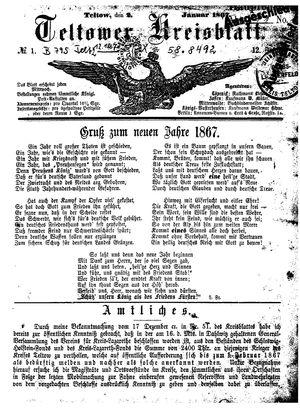 Teltower Kreisblatt vom 02.01.1867