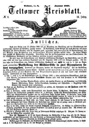 Teltower Kreisblatt vom 08.01.1867