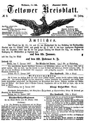Teltower Kreisblatt vom 16.01.1867