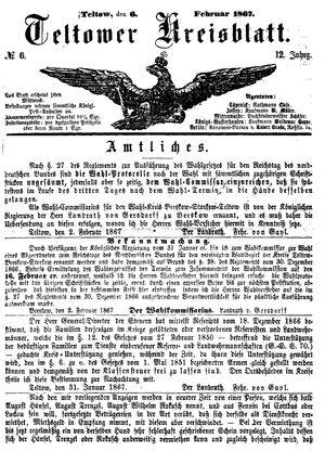 Teltower Kreisblatt vom 06.02.1867
