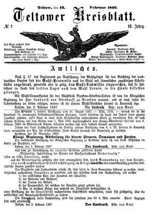 Teltower Kreisblatt vom 13.02.1867