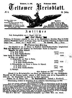 Teltower Kreisblatt vom 27.02.1867