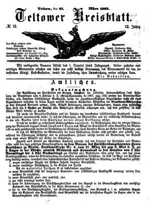Teltower Kreisblatt vom 27.03.1867
