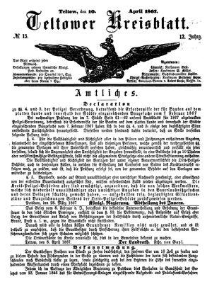 Teltower Kreisblatt vom 10.04.1867