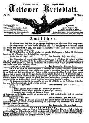 Teltower Kreisblatt on Apr 17, 1867