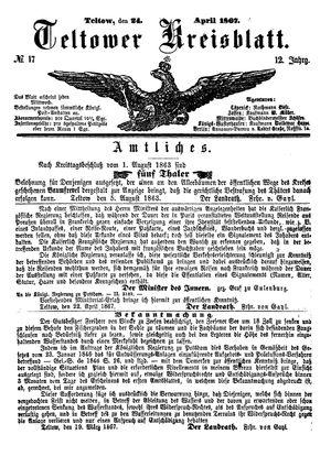 Teltower Kreisblatt vom 24.04.1867