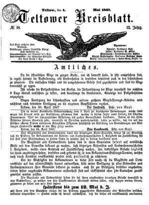 Teltower Kreisblatt vom 01.05.1867
