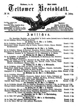 Teltower Kreisblatt vom 08.05.1867
