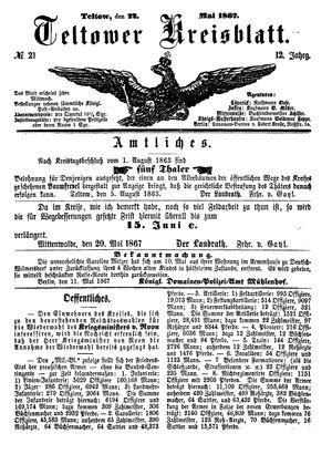Teltower Kreisblatt vom 22.05.1867