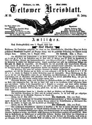 Teltower Kreisblatt on May 29, 1867