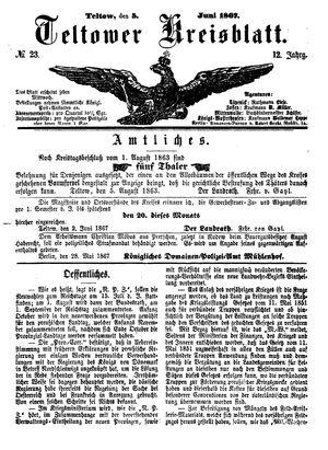 Teltower Kreisblatt vom 05.06.1867