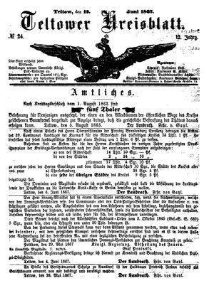 Teltower Kreisblatt vom 12.06.1867