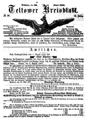 Teltower Kreisblatt vom 26.06.1867