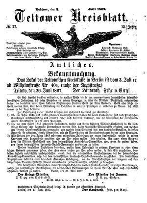 Teltower Kreisblatt on Jul 3, 1867