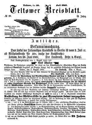 Teltower Kreisblatt vom 10.07.1867