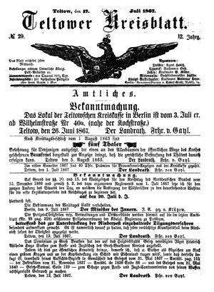 Teltower Kreisblatt vom 17.07.1867
