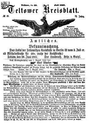 Teltower Kreisblatt vom 31.07.1867