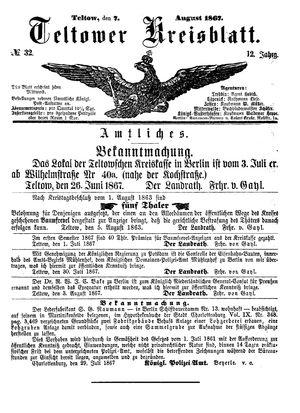 Teltower Kreisblatt on Aug 7, 1867