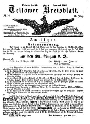 Teltower Kreisblatt on Aug 21, 1867