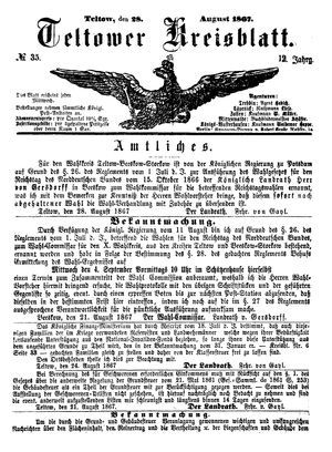 Teltower Kreisblatt vom 28.08.1867