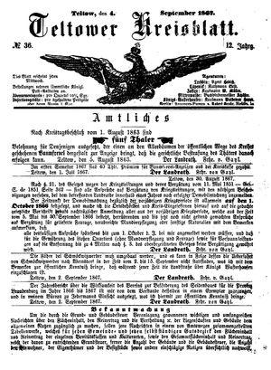 Teltower Kreisblatt vom 04.09.1867