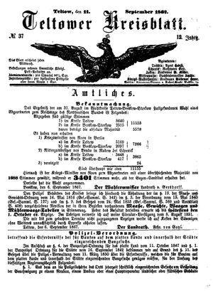 Teltower Kreisblatt on Sep 11, 1867
