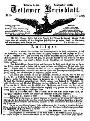 Teltower Kreisblatt vom 25.09.1867
