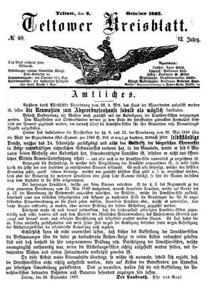 Teltower Kreisblatt vom 02.10.1867