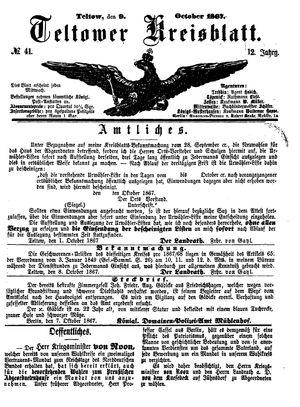 Teltower Kreisblatt vom 09.10.1867