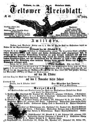 Teltower Kreisblatt vom 16.10.1867