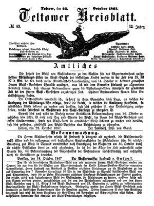 Teltower Kreisblatt on Oct 23, 1867