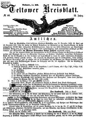 Teltower Kreisblatt on Oct 30, 1867