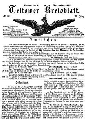Teltower Kreisblatt vom 07.11.1867