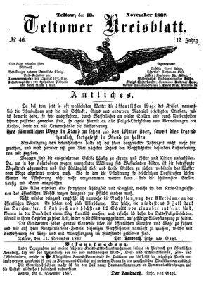 Teltower Kreisblatt vom 13.11.1867
