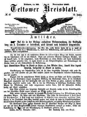 Teltower Kreisblatt vom 20.11.1867