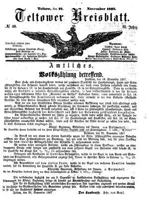 Teltower Kreisblatt vom 27.11.1867