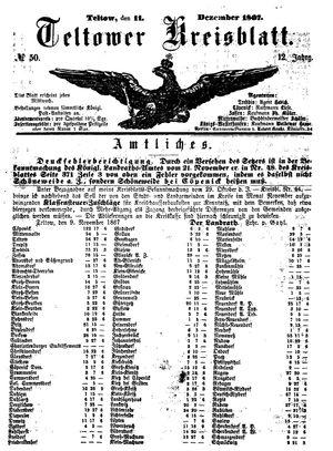 Teltower Kreisblatt vom 11.12.1867