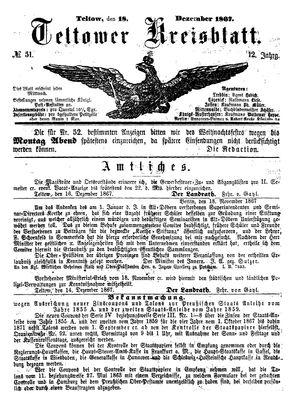 Teltower Kreisblatt vom 18.12.1867